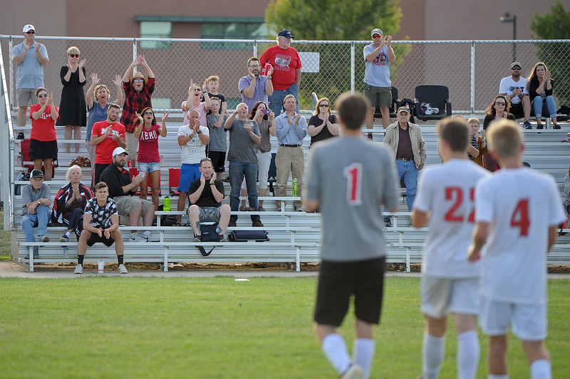 Loveland fans congratulate the Indians after a game Tuesday, Sept. 4, 2018 at Mountain View High School in Loveland. (Sean Star/Loveland Reporter-Herald)