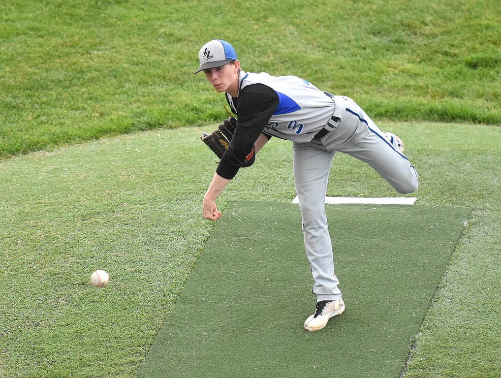 . Lyons relief pitcher Brandon Sanders delivers a pitch in the fifth inning of the Lions\' Class 2A state semifinal game against Rocky Ford on Saturday at Runyon Field Sports Complex in Pueblo.
