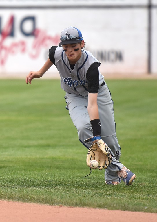 . Lyons second baseman Joe McCain fields a ground ball deep in the hole during the Lions\' Class 2A state semifinal game against Rocky Ford on Saturday at Runyon Field Sports Complex in Pueblo.
