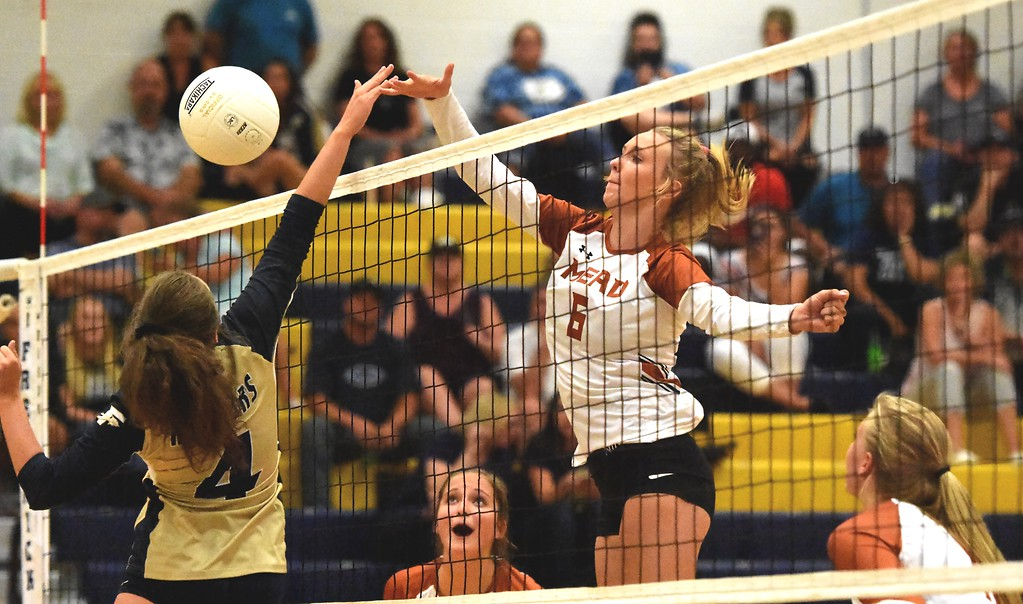 . Mead\'s Abbey Glynn scores against Frederick during the teams\' match on Tuesday, Sept. 11, at Frederick High School.
