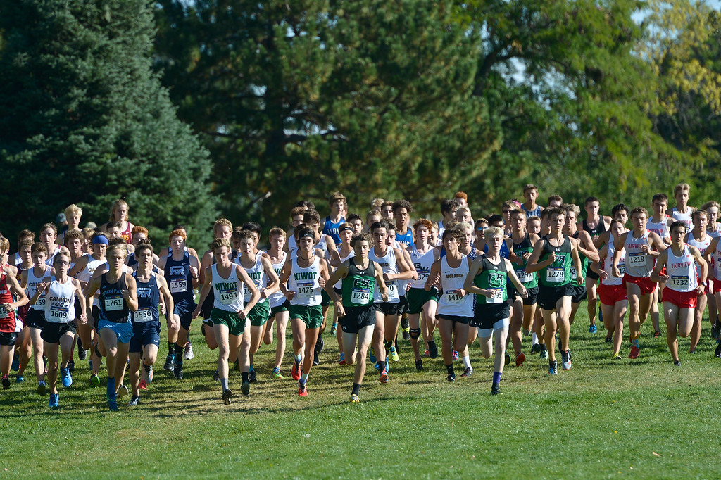 . BOULDER, CO - SEPTEMBER 22, 2018: The start of the boys varsity race at the Pat Patten Cross Country Invitational Sept. 22 in Boulder. (Photo by Lewis Geyer/Staff Photographer)
