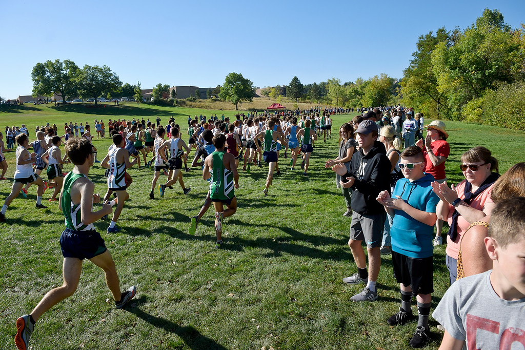 . BOULDER, CO - SEPTEMBER 22, 2018: The start of the boys\' varsity race at the Pat Patten Cross Country Invitational Sept. 22 in Boulder. (Photo by Lewis Geyer/Staff Photographer)