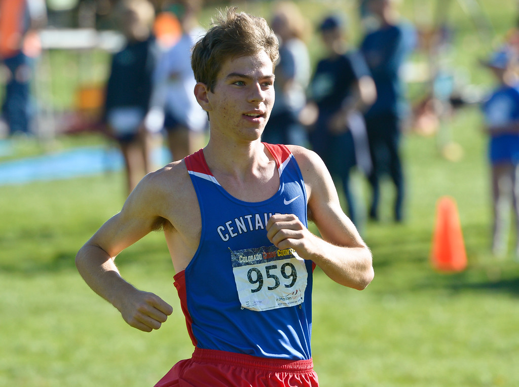 . BOULDER, CO - SEPTEMBER 22, 2018: Centaurus\' Kyle Piper steps out front during the start of the Pat Patten Cross Country Invitational Sept. 22 in Boulder. (Photo by Lewis Geyer/Staff Photographer)