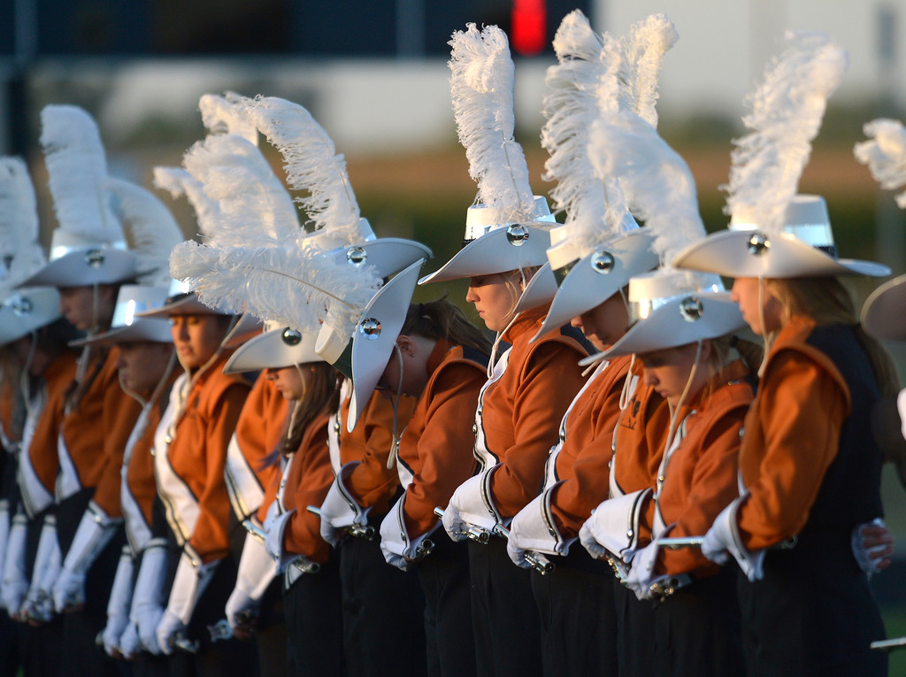 . MEAD, CO - SEPTEMBER 14, 2018: The Mead High School marching band waits for their team on the field before the game against Roosevelt at Mead High School Sep. 14. (Photo by Lewis Geyer/Staff Photographer)