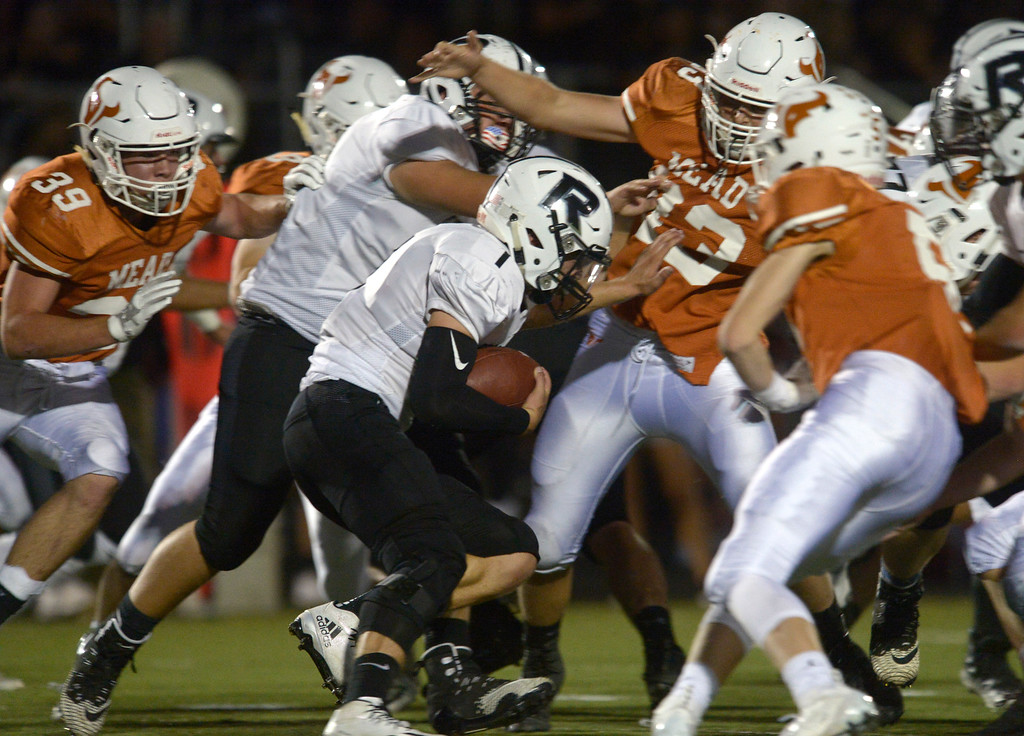 . MEAD, CO - SEPTEMBER 14, 2018: Roosevelt\'s Nick Wall runs into a wall of Mead defenders in the second quarter at Mead High School Sep. 14. (Photo by Lewis Geyer/Staff Photographer)