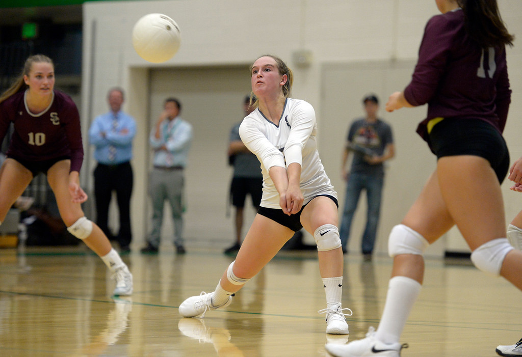 . NIWOT, CO - SEPTEMBER 11, 2018: Silver Creek\'s Megan Cunningham bumps the ball during the second game against Niwot at Niwot High School Sep. 11. Niwot won in three games. (Photo by Lewis Geyer/Staff Photographer)