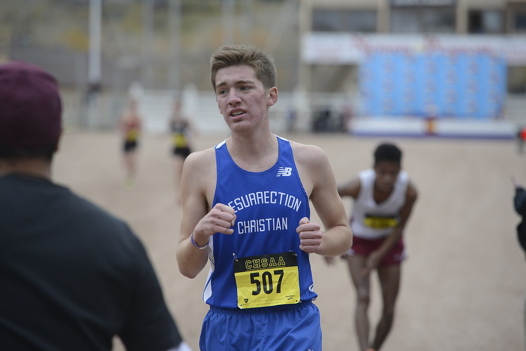 . Christian Fagerlin of Resurrection Christian finishes the 3A boys state cross country championship on Saturday in Colorado Springs.