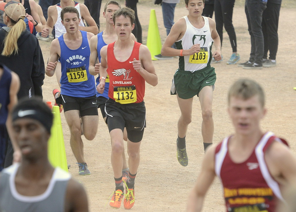 . Loveland\'s Kellis Ward (1132) competes in the 5A boys state cross country championship on Saturday in Colorado Springs.