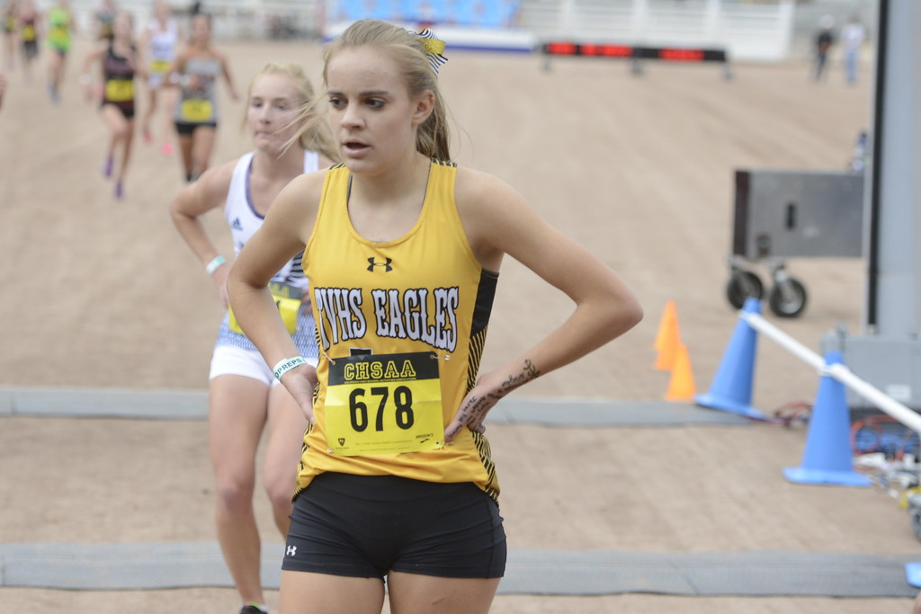 . Thompson Valley\'s Kenadi Krueger finishes the 4A girls state cross country championship on Saturday in Colorado Springs.