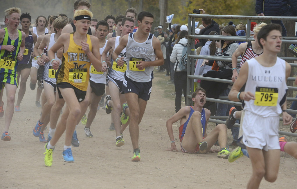 . Thompson Valley\'s Dylan Schubert (842) runs in the 4A boys state cross country championship on Saturday in Colorado Springs.