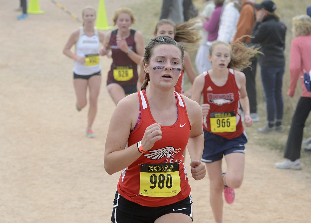 . Loveland\'s Maci Ames competes in the 5A girls state cross country championship on Saturday in Colorado Springs.