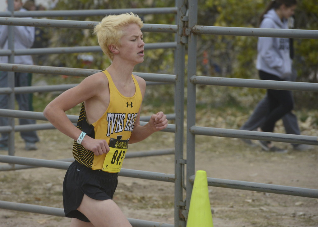 . Thompson Valley\'s Jeremiah Sheets runs in the 4A boys state cross country championship on Saturday in Fort Collins.
