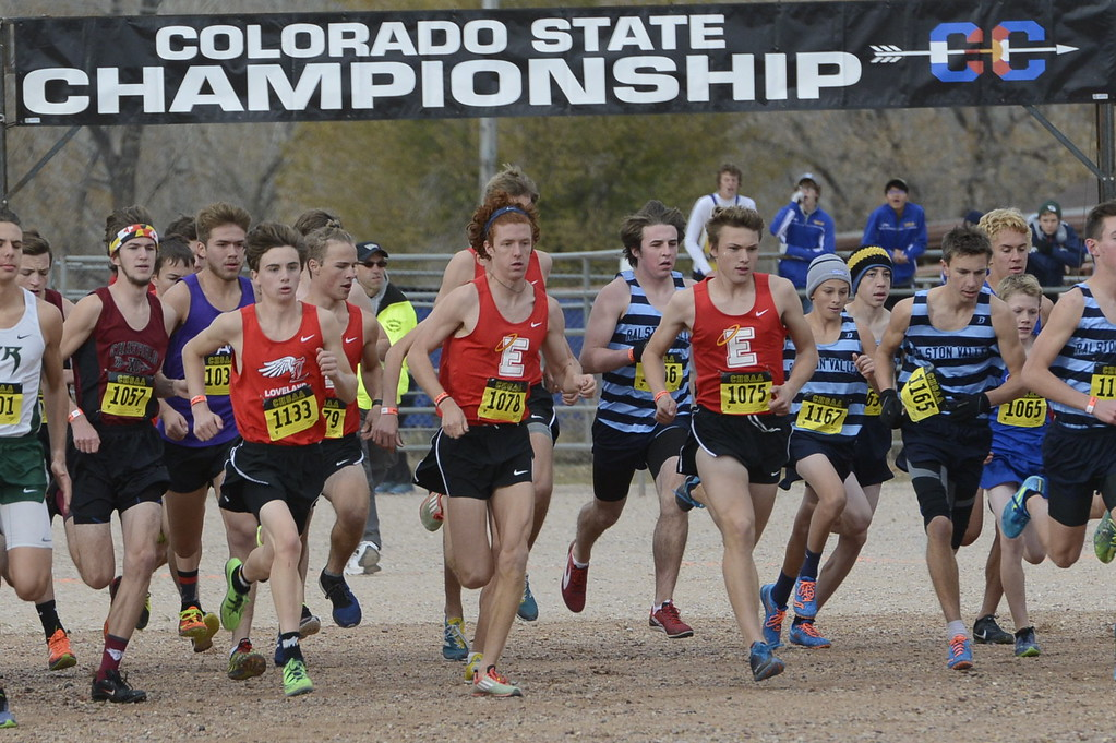 . Loveland\'s Zac Witman (1133) runs the 5A boys state cross country championship race on Saturday in Colorado Springs.
