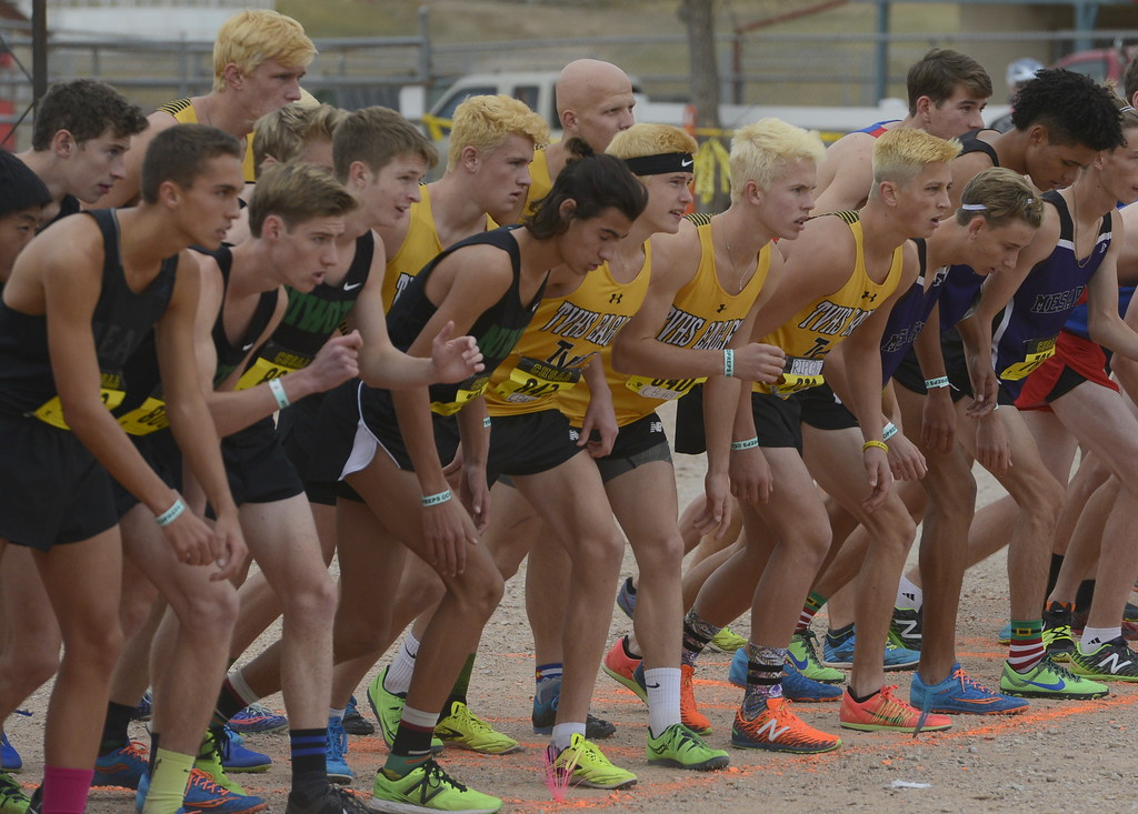 . The Thompson Valley boys cross country team gets ready to start the 4A state championship on Saturday in Colorado Springs.