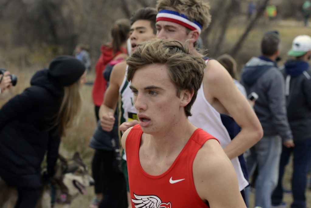 . Loveland\'s Zac Witman (1133) runs the 5A boys state cross country championship on Saturday in Colorado Springs.