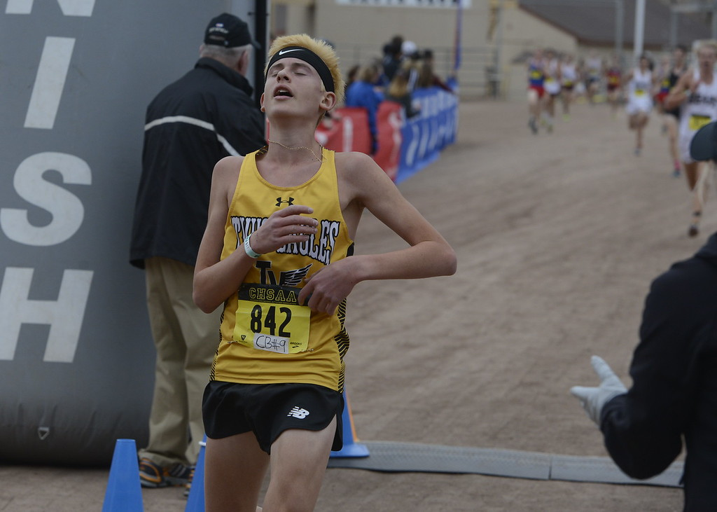 . Thompson Valley\'s Dylan Schubert finishes the 4A boys state cross country championship on Saturday in Fort Collins.