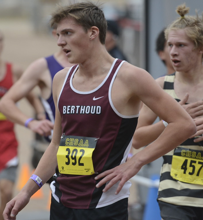 . Berthoud\'s Kade Leonard finishes the 4A state cross country championship on Saturday in Colorado Springs.
