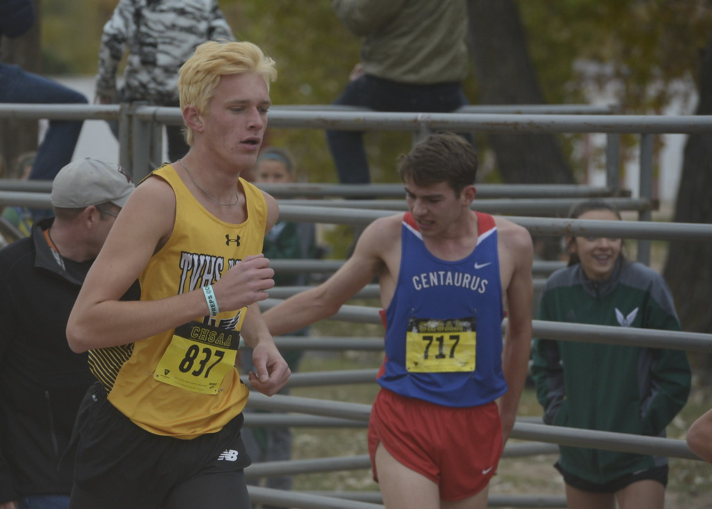 . Thompson Valley\'s Jacob Brouwer runs in the 4A boys state cross country championship on Saturday in Fort Collins.