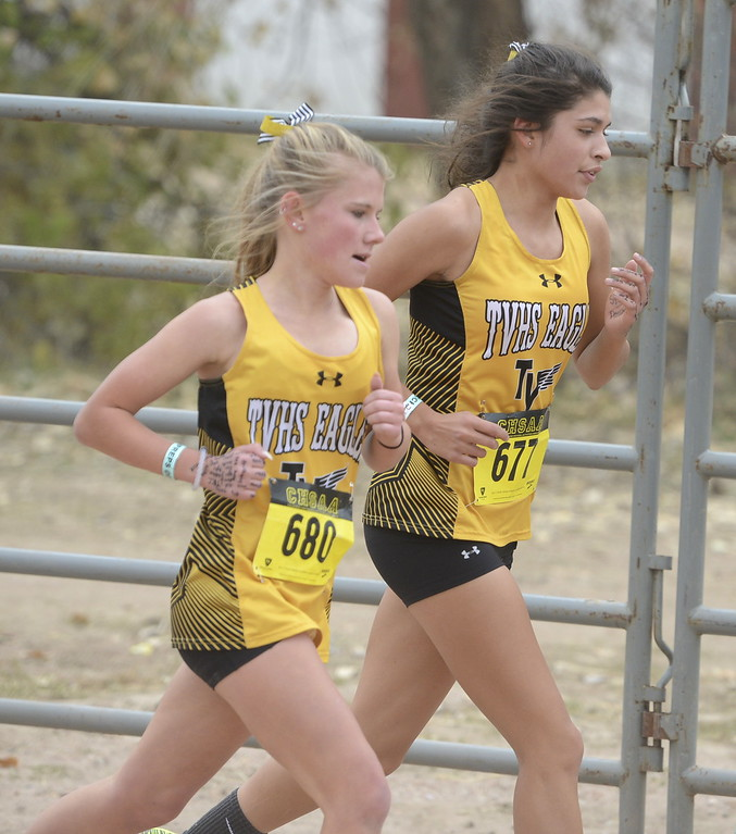 . Thompson Valley\'s Gracy Roitsch and Victoria Kavvadas compete in the 4A girls state cross country championship on Saturday in Colorado Springs.
