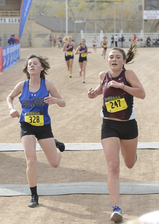 . Berthoud\'s Maycee White (247) finishes the 3A girls state cross country championship on Saturday in Colorado Springs.