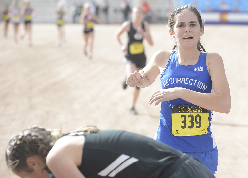 . Resurrection Christian\'s Ellie Fantauzzo (339) finishes the 3A girls state cross country championship on Saturday in Colorado Springs.