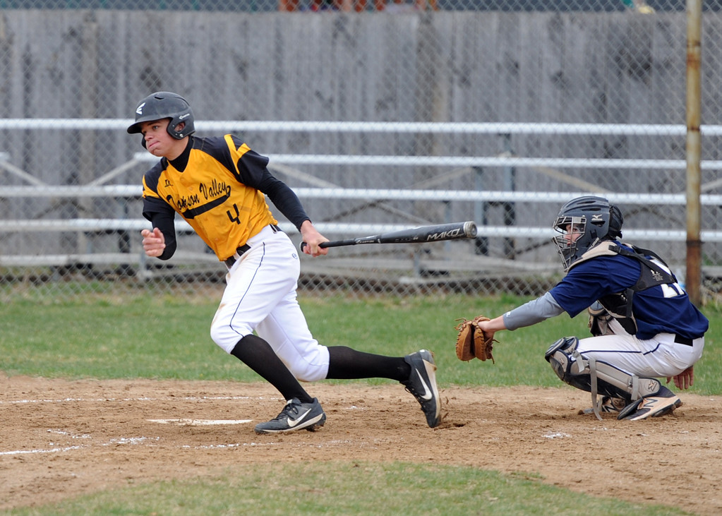 . Thompson Valley\'s Cameron Nellor follows through on a swing during Tuesday\'s game against Frederick at Constantz Field. (Sean Star/Loveland Reporter-Herald)