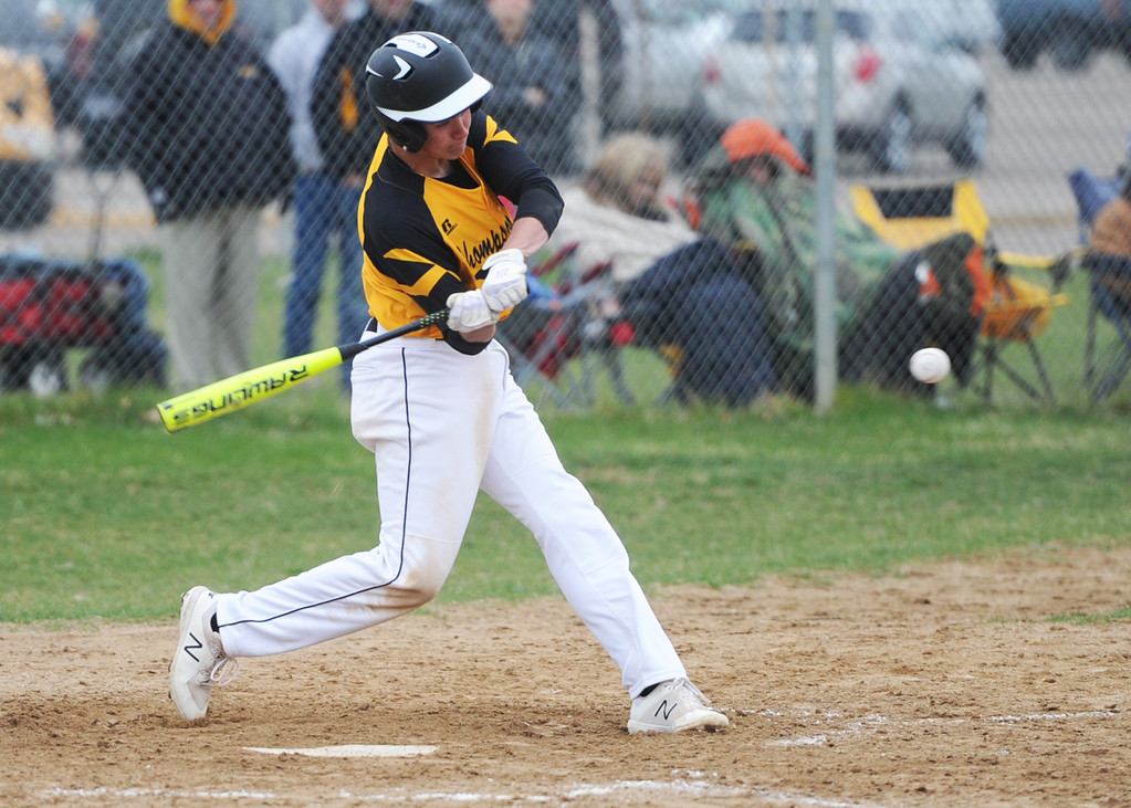 . Thompson Valley\'s Aidan Schultz takes a swing during Tuesday\'s game against Frederick at Constantz Field. (Sean Star/Loveland Reporter-Herald)