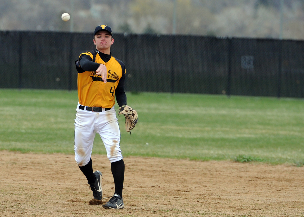 . Thompson Valley\'s Cameron Nellor throws over to first during Tuesday\'s game against Frederick at Constantz Field. (Sean Star/Loveland Reporter-Herald)