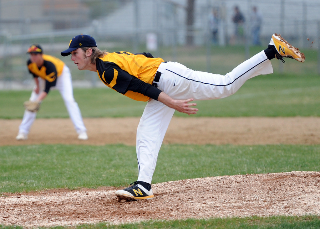 . Thompson Valley\'s Jake Hewson delivers a pitch during Tuesday\'s game against Frederick at Constantz Field. (Sean Star/Loveland Reporter-Herald)
