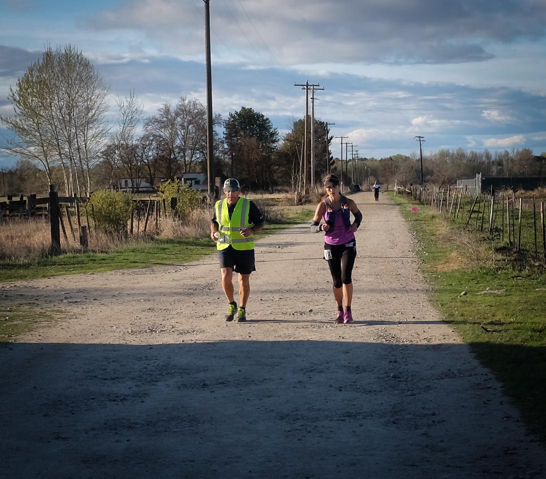 Julie Tinney (100 mile) with Sam.