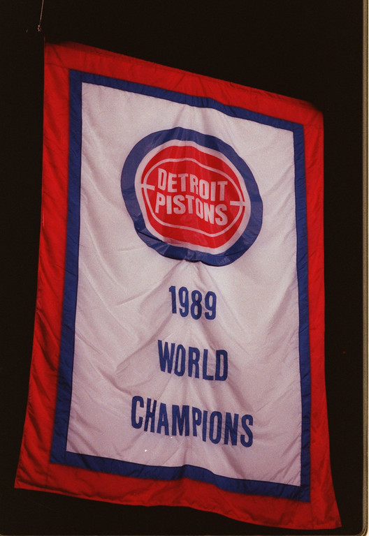 . Hoisting of the 1989 World Champions banner in the Palace of Auburn Hills, opening night of the Pistons 1989-1990 season vs the New York Nicks.