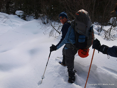 This time Ken is taking the point in deep snow.  Breaking the deep snow cover was a physically demanding task.