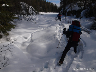 Navigating the frozen rivers is about experience, intuition, and risk management.   We are tempted to take the easy way in middle, but the rational mind chooses to look for sprigs of brush, stems of grass or bulges of rocks indicating safe ground.