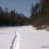 Looking back to Brule Lake Trail crossing the Ball Club Creek.   We saw solitary snowshoe tracks on the Brule Lake Trail.