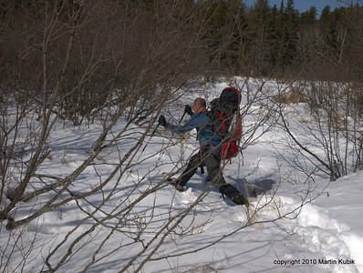 Last year a crew member broke through ice.  We are taking no chances and jump accress stream bed.