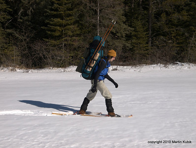 A solitary snowshoer.