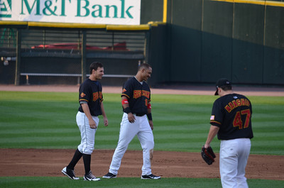 L-R: Danny Valencia, Wilkin Ramirez, Jeff Manship