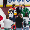 Mike Vellucci drops the puck with Cullen Mercer and Connor McDavid