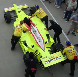 Ed Carpenter's car being taken back to the garage
