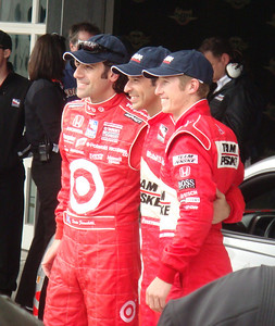 Front-row qualifiers Dario Franchitti, Hélio Castroneves, and Ryan Briscoe This image is released under the Creative Commons Attribution-Share Alike 3.0 Unported License.  This image is released under the Gnu Free Documentation License v. 1.2.