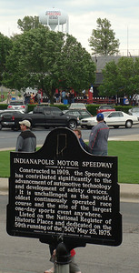 Historical marker, with the Speedway water tower in the background