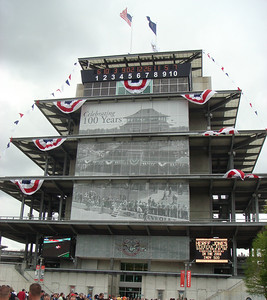 Pagoda decked out for the track's centennial