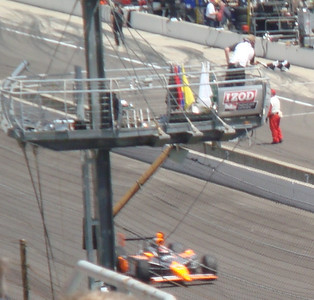 Sebastian Saavedra takes the checkered flag for his qualification attempt.