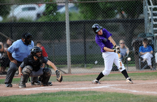 "Francis Lanzano hits the ball at the top of the fourth inning during the Pomona at Boulder Legion A baseball game at Scott Carpenter Park.<br /> Photo by Rachel Woolf For The Boulder Camera<br /> For more photos go to  <a href=""http://www.dailycamera.com"">http://www.dailycamera.com</a><br /> June 6, 2012"