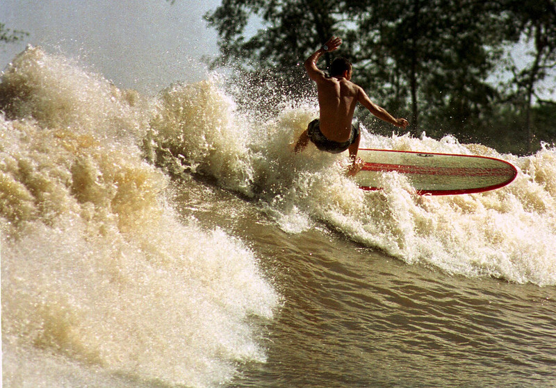 A surfer on a tidal bore wave, known as pororoca, in the Mearim River in Brazil's amazonian state of Maranhao. The Mearim pororoca is one of many Amazonian tidal bores which surfers have begun to take on in a quest for adventure and to help local economies in one of the poorest regions of Brazil.<br /> (AustralFoto/Douglas Engle)