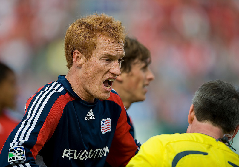 23 May 09: New England Revolution midfielder/defender Jeff Larentowicz #13 argues with the referee during a game between the New England Revolution and Toronto FC.<br /> Toronto FC won 3-1<br /> Photo by Nick Turchiaro/isiphotos.com.