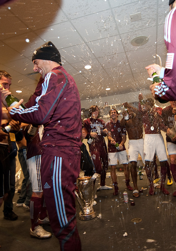21 November 2010: The Colorado Rapids players  celebrate in the locker room after winning the 2010 MLS CUP between the Colorado Rapids and FC Dallas at BMO Field in Toronto, Ontario Canada.<br /> The Colorado Rapids won 2-1 in extra time.
