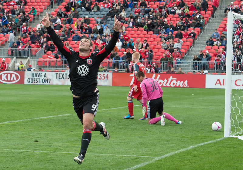 06 October 2012: D.C. United forward Hamdi Salihi #9 celebrates the only goal during an MLS game between DC United and Toronto FC at BMO Field in Toronto, Ontario Canada. <br /> D.C. United won 1-0.