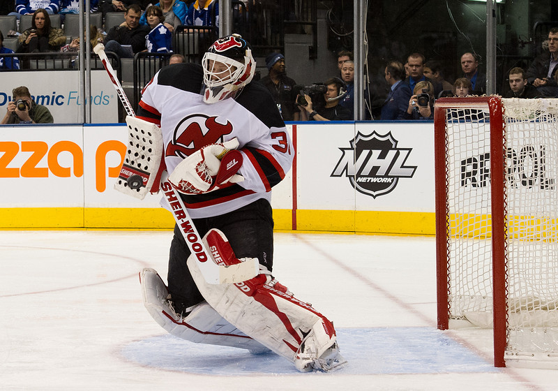 February 21 2012: New Jersey Devils goalie Martin Brodeur #30 in action during the third period in a game between the New Jersey Devils and the Toronto Maple Leafs at the Air Canada Centre in Toronto, Ontario.<br /> The New Jersey Devils won 4-3 in overtime.