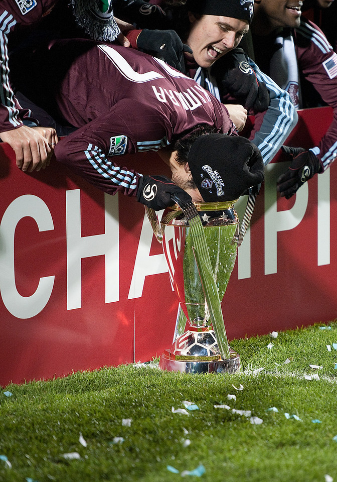 21 November 2010: Colorado Rapids defender Kosuke Kimura #27 shows us how much he likes winning the MLS Cup during the winning ceremonies of  2010 MLS CUP between the Colorado Rapids and FC Dallas at BMO Field in Toronto, Ontario Canada.<br /> The Colorado Rapids won 2-1 in extra time.